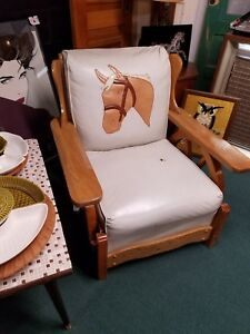 Mid Century Western Wagon Wheel Chair With Horse Mcm Ponderosa Ferris Bueller