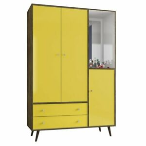 Manhattan Comfort Liberty Wardrobe Armoire In Rustic Brown And Yellow
