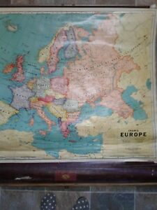 1940 S Crams Geologic Map Of Europe School Pull Down Roll Up