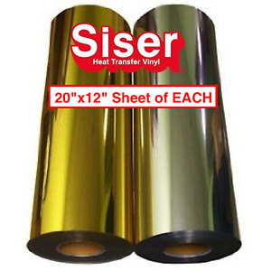 Siser Gold And Silver Foil Heat Transfer Vinyl 2 Sheets 12 x20 Sheet Of Each