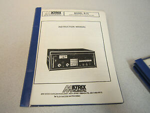 Matrix Instruction Manual For Signal Strength And Distortion Analyzer R 75