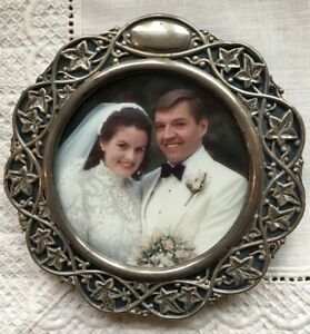 Superb Antique English Hallmarked Silver Wedding Picture Photo Frame Ivy