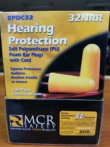 100 Pairs Soft Polyurethane Pu Foam Ear Plugs With Cord Mcr Safety 32nrr