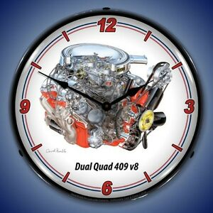 New Dual Quad 409 V8 Chevrolet Car Engine Big Block Led Lighted Clock Usa Made
