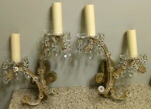 Vintage Italian Venetian Murano Glass Wall Brass Wall Sconces Pair Set Neat