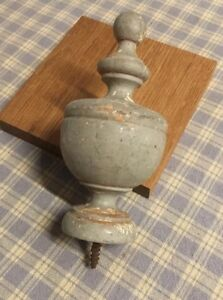 Antique French Wood Post Finial End Cap Salvaged Architectural Piece 4 Tall