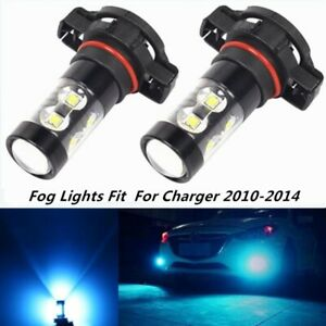 Pair 80w Fog Lights For Dodge Charger 2010 2014 8000k Ice Blue Led Bulbs Lamp