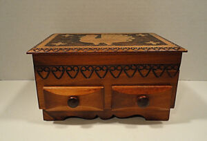 Vintage Pyrography Wooden Box With Drawers