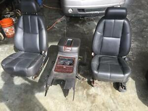 2007 2013 Gmc Yukon Denali Black Leather Front Seats W console Power Driver