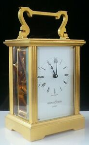Mappin Webb Brass Carriage Clock Working With Key
