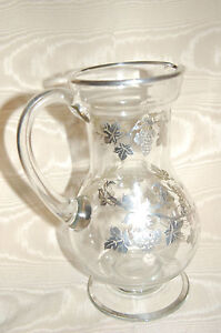 Antique Vintage Silver Overlay Glass Wine Decanter Pitcher Amazing Detail