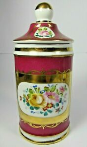 Sevres Apothecary Jar Antique French Limoges Porcelain Pharmacy Pot Hand Painted