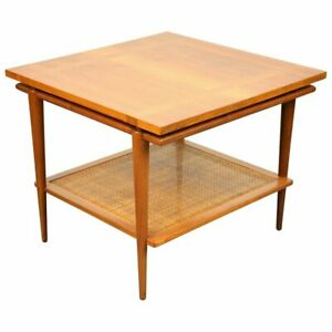 John Widdicomb Two Tier Side Table Floating Top Caned Mid Century Modern 1960s