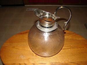Glass Silver Plated Serving Pitcher