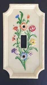 Vintage Bakelite Floral Light Switch Plate Cover American Tack