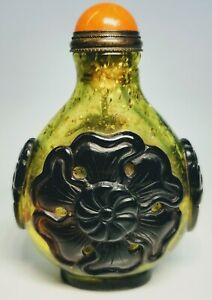 1920s Chinese Carved Glass Coral Top Flower Snuff Bottle