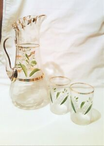 Old Fancy Glass Lemonade Pitcher Painted Lilly Of The Valley 12 5 In