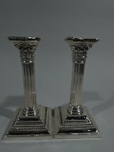 Gorham Candlesticks A3206 Classical Column Pair American Sterling Silver