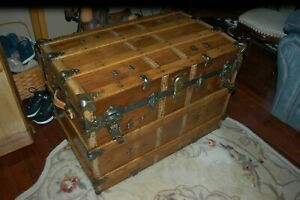 Antique Late Victorian Period Steamer Trunk Chest With Solid Brass Lock