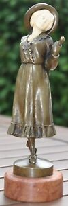 Austrian Vienna Bronze On Marble By Peter Tereszczuk Lady With Umbrella
