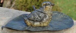 Magnificent Cold Painted Bronze Bird On Leaf Inkwell Signed Austrian Vienna