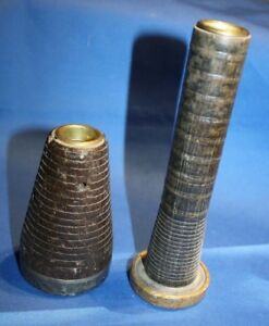 Two Antique Wooden Candle Holders Made Out Of Old Spools
