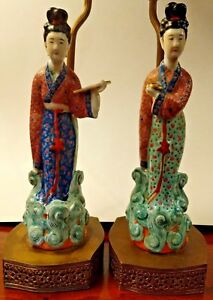 Antique Chinese Famille Rose Porcelain Lady Figures Pair Hollywood Regency Lamps