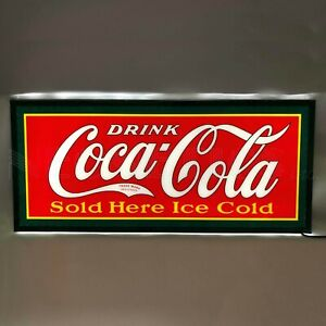 New SLIM LINE old fashioned soda parlor style Coca Cola advertising Coke sign