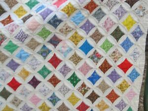 Very Nice Vintage Colorful Cathedral Window New England Patchwork Quilt Gift