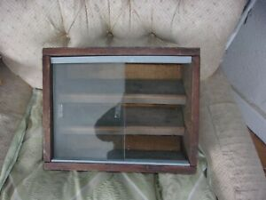 Vintage Rustic Glass And Wood Box For Miniatures