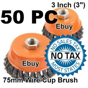 50 Wire Cup Brush 3 75mm For 4 1 2 115mm Angle Grinder Twist Knot hoteche