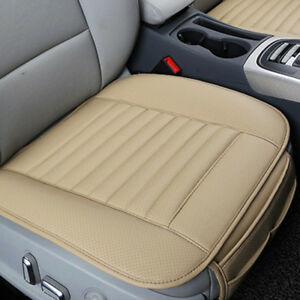 Us Car Beige Pu Leather Seat Cover Cushion Pad Bamboo Breathable For Bmw Benz Vw