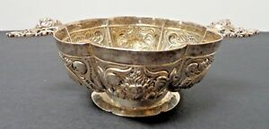 Antique Sterling Silver Rare Repousse Footed Bowl Wine Taster Cup With Marking