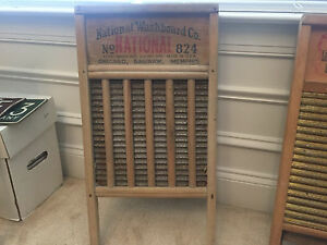 Vintage Washboard Wood Ribbed Metal No 824 National Washboard Co 24