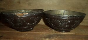 2 Matching Antique Chinese Asian Carved Coconut Shell Bowl Pair Set 4 W Wear