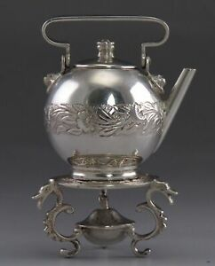 Antique Dutch Silver Fancy Miniature Teapot Kettle On Stand Realistic