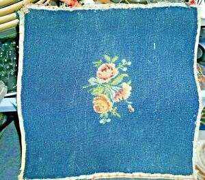 Antique Wool Needlepoint Seat Chair Pillow Cover Dark Blue With Rose 13x13 Inch