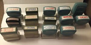 Vintage Xstamper Stamper Lot Of 17 Rubber Stamps Paid Confidential Fax Copy