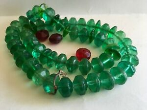 Antique Russian Indian Fur Glass Trade Beads 50 Green Red