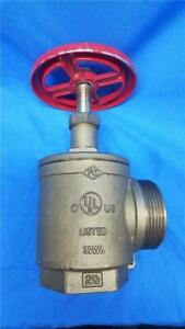Fire Hose Angle Valve 2 1 2 Npt X 2 1 2 Nst Ul Listed New
