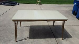 New Price Mid Century Kitchen Table With Light Grain Formica Top And Metal Skirt