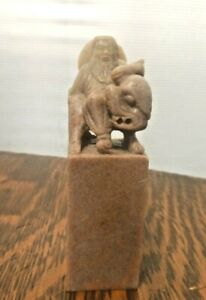 Vintage Chinese Asian Soapstone Seal Stamp Immortal Statue Figure