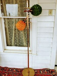 Vintage Midcentury Floor Lamp Spaghetti Lucite Green Orange Danish Wood