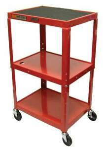 18 In Adjustable Av Cart W 3 Shelves In Red id 32717