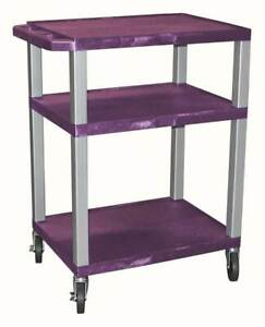 Tuffy Electrical Av Cart W 3 Purple Plastic Shelves id 56896