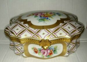Antique Beautiful French Hand Painted Flowers Large Dresser Porcelain Box
