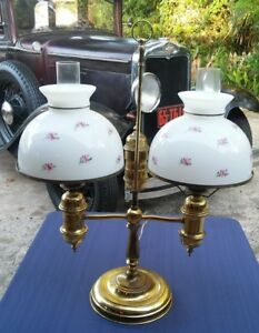 Vintage Double Student Lamp Floral Glass Shades Victorian Style Electric Large