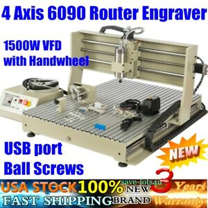 Usb Port 4 Axis 6090 Router Engraver Machine 1500w Vfd With Remote Controller