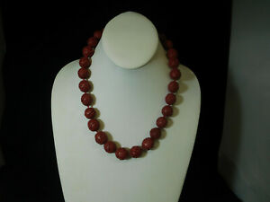 Vintage Chinese Cinnabar Red Lacquer Hand Carved Beaded Necklace 20