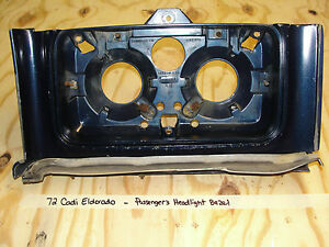 1972 72 Cadillac Eldorado Passenger Right Headlight Bucket Bezel Trim W Springs